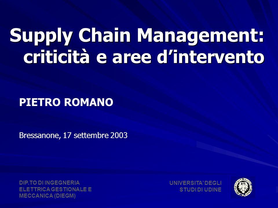 Supply Chain Management: criticità e aree dintervento PIETRO ROMANO Bressanone, 17 settembre 2003 UNIVERSITA DEGLI STUDI DI UDINE DIP.TO DI INGEGNERIA