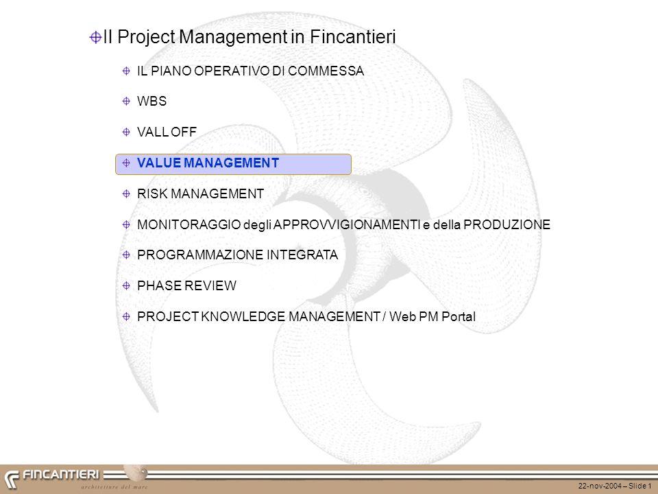 22-nov-2004 – Slide 1 Il Project Management in Fincantieri IL PIANO OPERATIVO DI COMMESSA WBS VALL OFF VALUE MANAGEMENT RISK MANAGEMENT MONITORAGGIO d