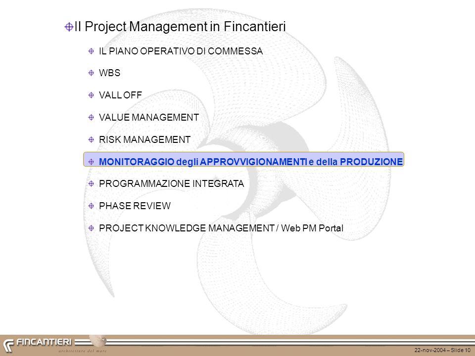 22-nov-2004 – Slide 10 Il Project Management in Fincantieri IL PIANO OPERATIVO DI COMMESSA WBS VALL OFF VALUE MANAGEMENT RISK MANAGEMENT MONITORAGGIO