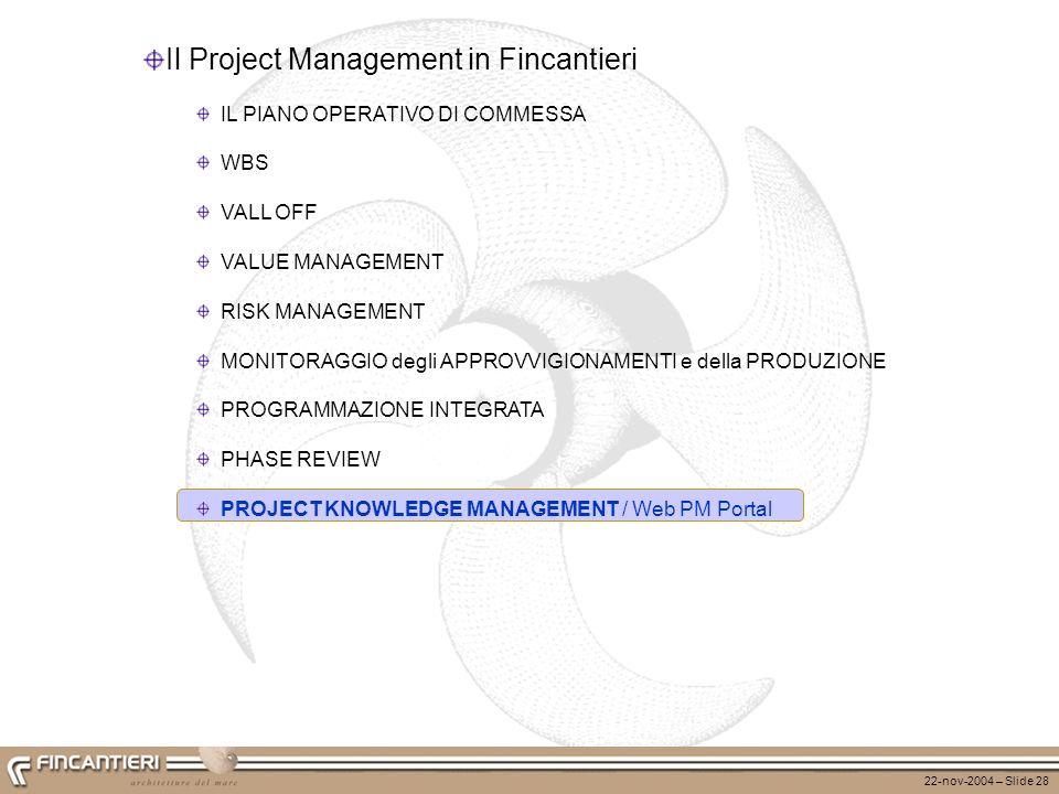 22-nov-2004 – Slide 28 Il Project Management in Fincantieri IL PIANO OPERATIVO DI COMMESSA WBS VALL OFF VALUE MANAGEMENT RISK MANAGEMENT MONITORAGGIO