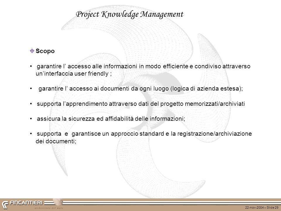 22-nov-2004 – Slide 29 Project Knowledge Management Scopo garantire l accesso alle informazioni in modo efficiente e condiviso attraverso uninterfacci