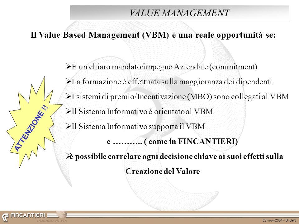 22-nov-2004 – Slide 3 VALUE MANAGEMENT È un chiaro mandato/impegno Aziendale (commitment) La formazione è effettuata sulla maggioranza dei dipendenti
