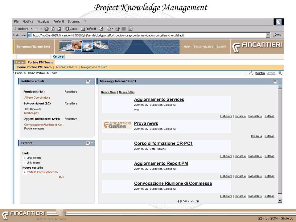 22-nov-2004 – Slide 30 Project Knowledge Management