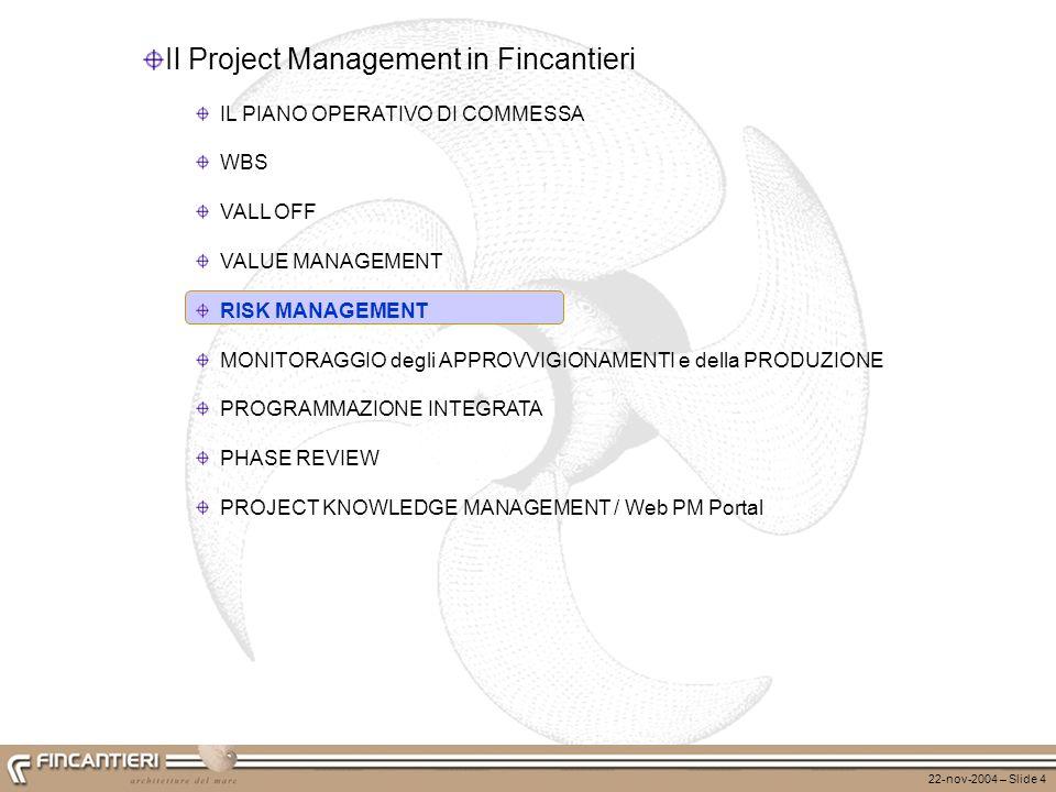 22-nov-2004 – Slide 4 Il Project Management in Fincantieri IL PIANO OPERATIVO DI COMMESSA WBS VALL OFF VALUE MANAGEMENT RISK MANAGEMENT MONITORAGGIO d