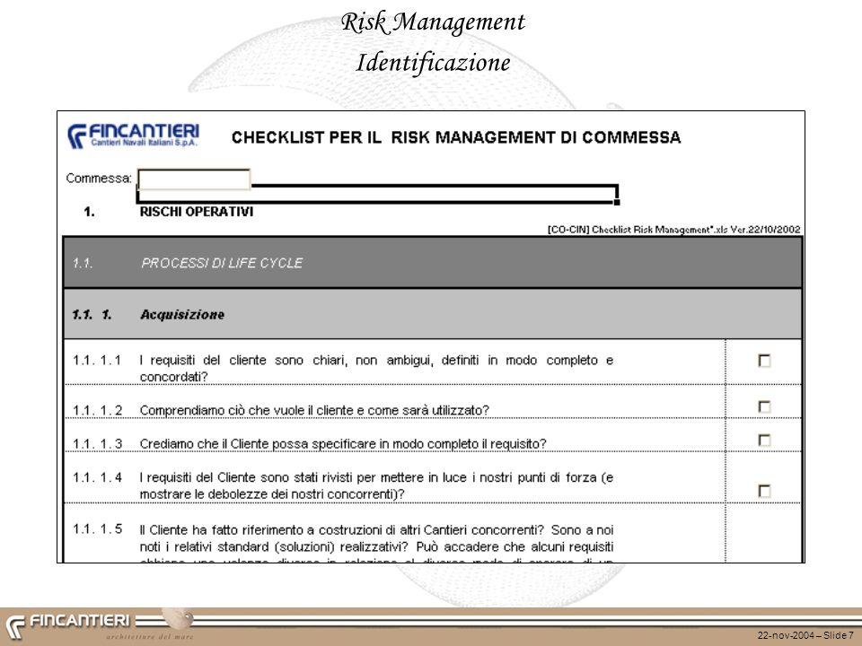 22-nov-2004 – Slide 7 Risk Management Identificazione