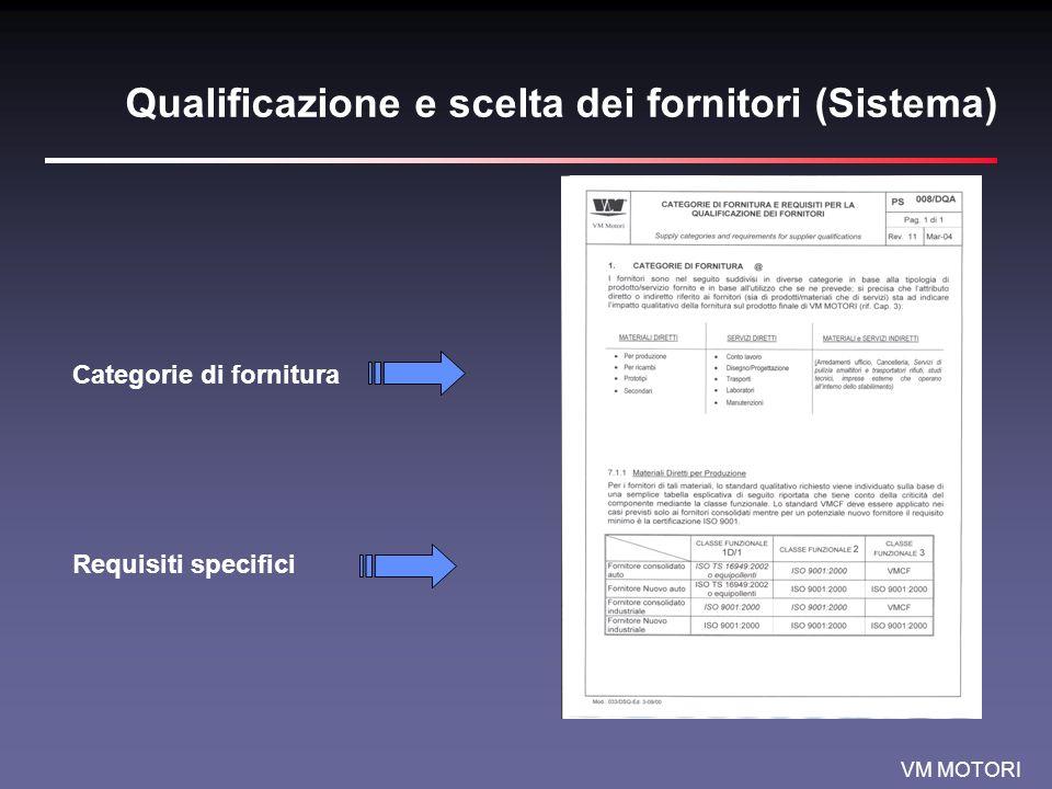 VM MOTORI Qualificazione e scelta dei fornitori (Sistema) Categorie di fornitura Requisiti specifici
