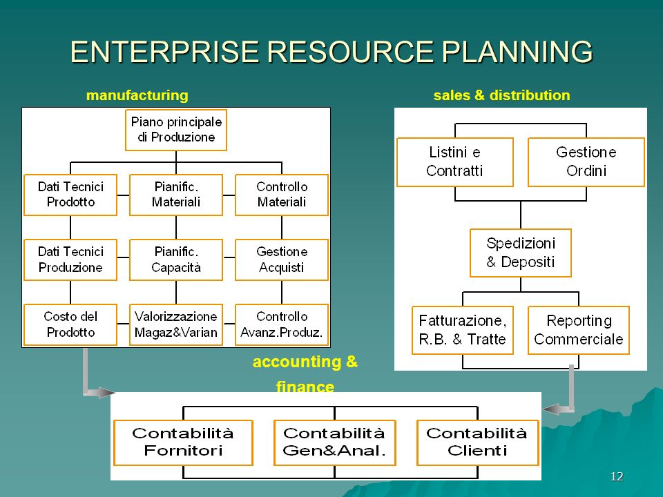 12 ENTERPRISE RESOURCE PLANNING manufacturingsales & distribution accounting & finance