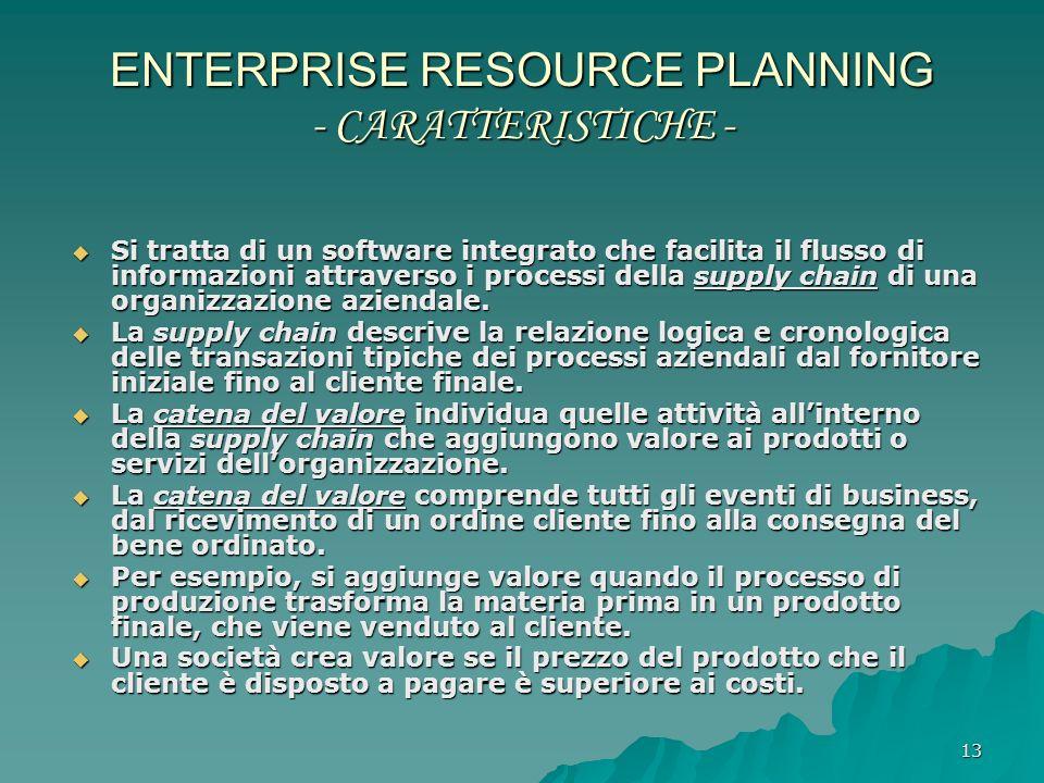13 ENTERPRISE RESOURCE PLANNING - CARATTERISTICHE - Si tratta di un software integrato che facilita il flusso di informazioni attraverso i processi de