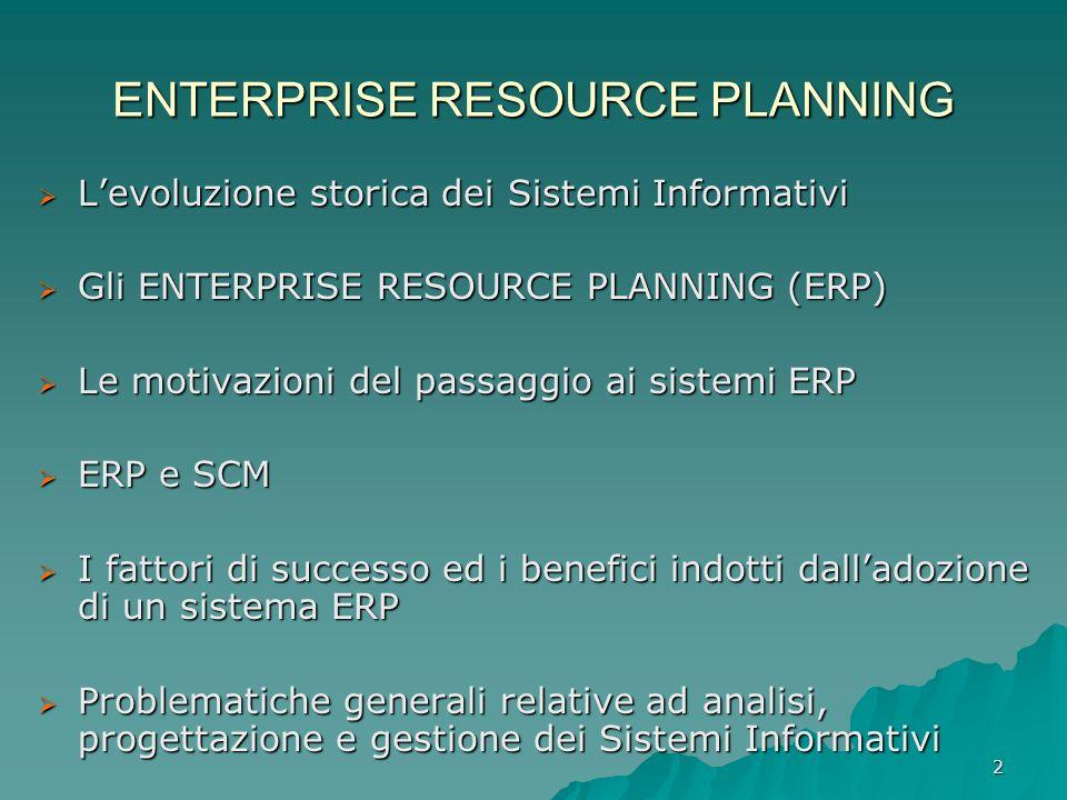2 ENTERPRISE RESOURCE PLANNING Levoluzione storica dei Sistemi Informativi Levoluzione storica dei Sistemi Informativi Gli ENTERPRISE RESOURCE PLANNIN