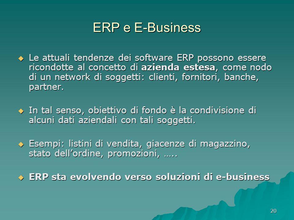 20 ERP e E-Business Le attuali tendenze dei software ERP possono essere ricondotte al concetto di azienda estesa, come nodo di un network di soggetti: