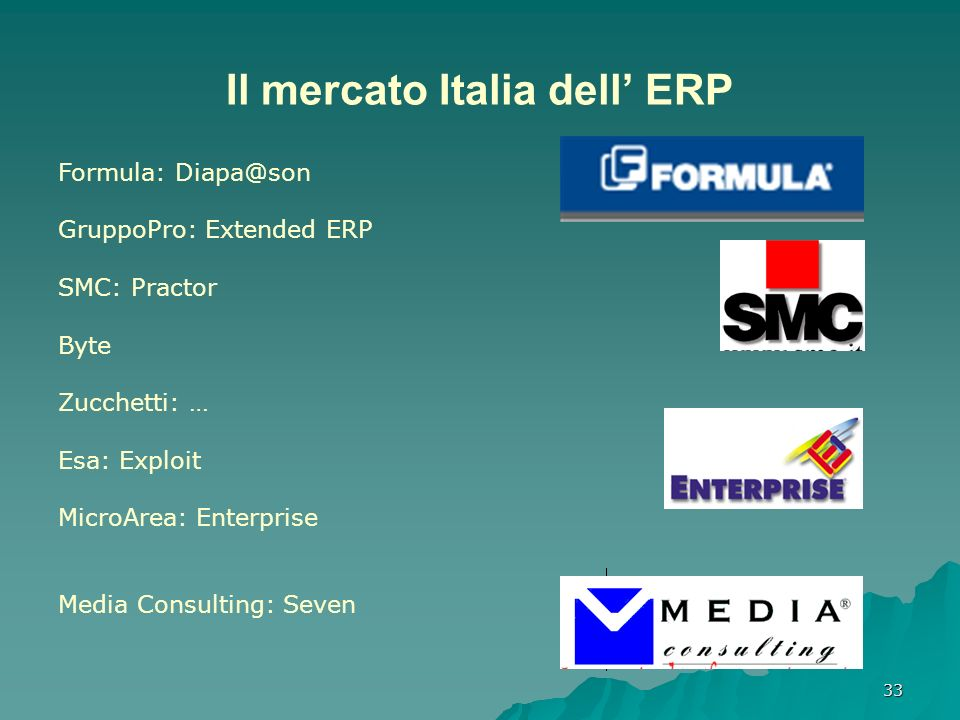 33 Il mercato Italia dell ERP Formula: Diapa@son GruppoPro: Extended ERP SMC: Practor Byte Zucchetti: … Esa: Exploit MicroArea: Enterprise Media Consu