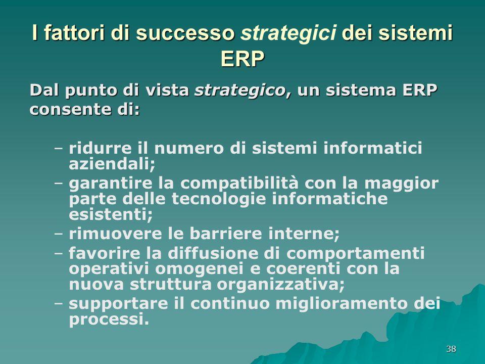38 I fattori di successo dei sistemi ERP I fattori di successo strategici dei sistemi ERP Dal punto di vista strategico, un sistema ERP consente di: –