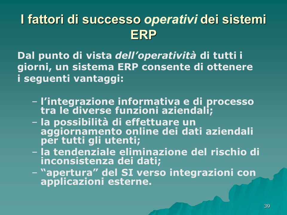 39 I fattori di successo dei sistemi ERP I fattori di successo operativi dei sistemi ERP Dal punto di vista delloperatività di tutti i giorni, un sist