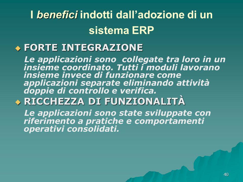 40 benefici I benefici indotti dalladozione di un sistema ERP FORTE INTEGRAZIONE FORTE INTEGRAZIONE Le applicazioni sono collegate tra loro in un insi