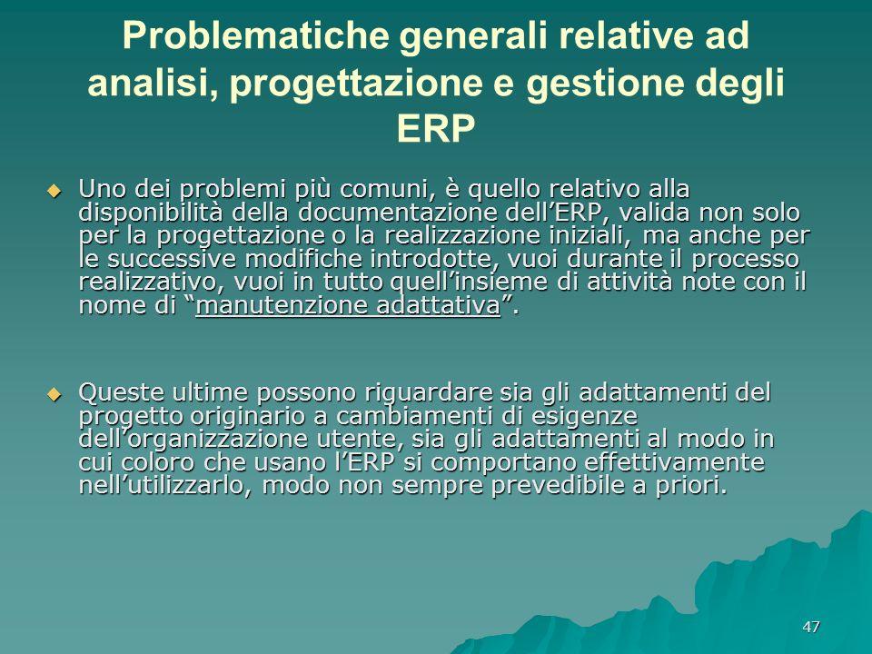 47 Problematiche generali relative ad analisi, progettazione e gestione degli ERP Uno dei problemi più comuni, è quello relativo alla disponibilità de