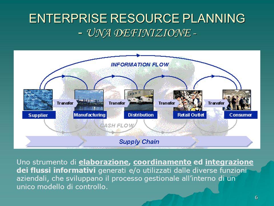 6 ENTERPRISE RESOURCE PLANNING - UNA DEFINIZIONE - Uno strumento di elaborazione, coordinamento ed integrazione dei flussi informativi generati e/o ut