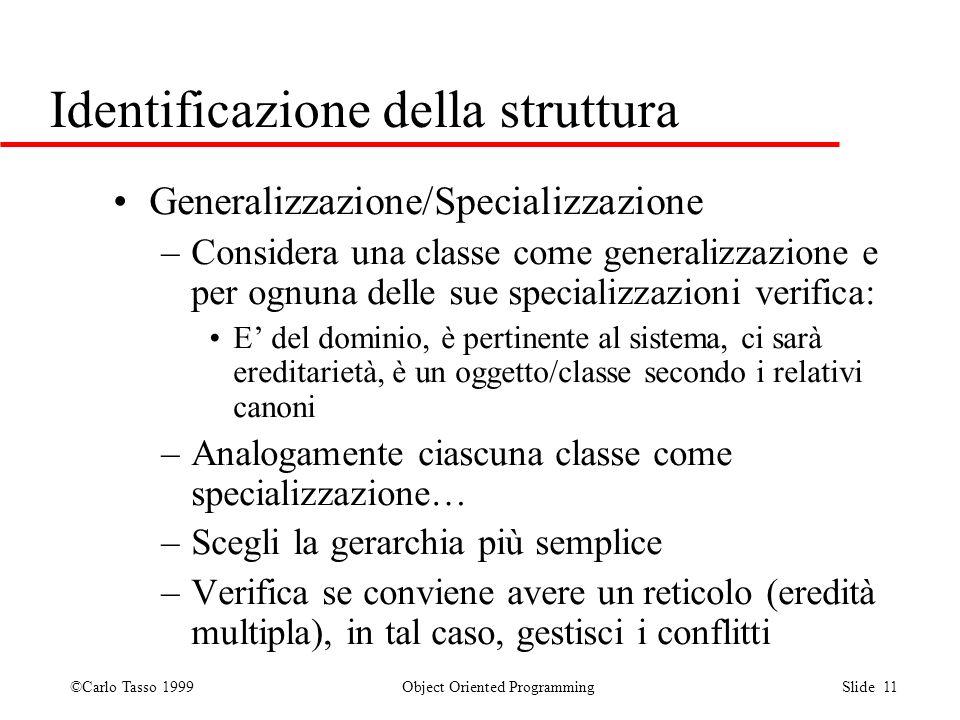©Carlo Tasso 1999 Object Oriented Programming Slide 11 Identificazione della struttura Generalizzazione/Specializzazione –Considera una classe come ge