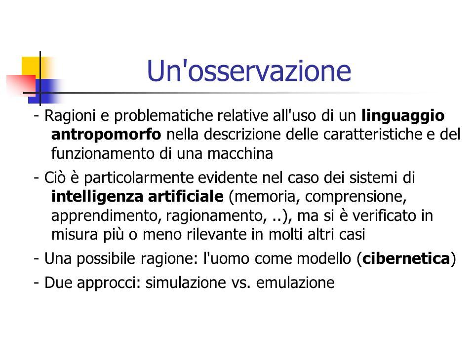 Un'osservazione - Ragioni e problematiche relative all'uso di un linguaggio antropomorfo nella descrizione delle caratteristiche e del funzionamento d