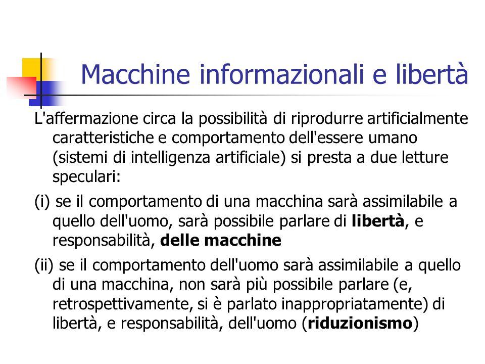 Macchine informazionali e libertà L'affermazione circa la possibilità di riprodurre artificialmente caratteristiche e comportamento dell'essere umano