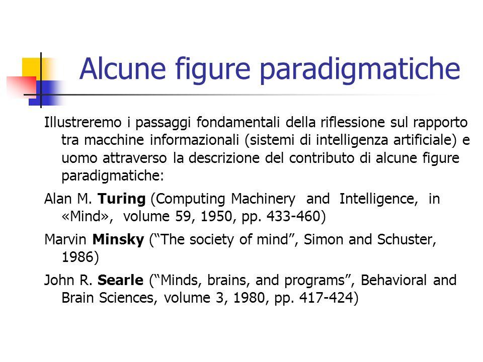 Alcune figure paradigmatiche Illustreremo i passaggi fondamentali della riflessione sul rapporto tra macchine informazionali (sistemi di intelligenza artificiale) e uomo attraverso la descrizione del contributo di alcune figure paradigmatiche: Alan M.