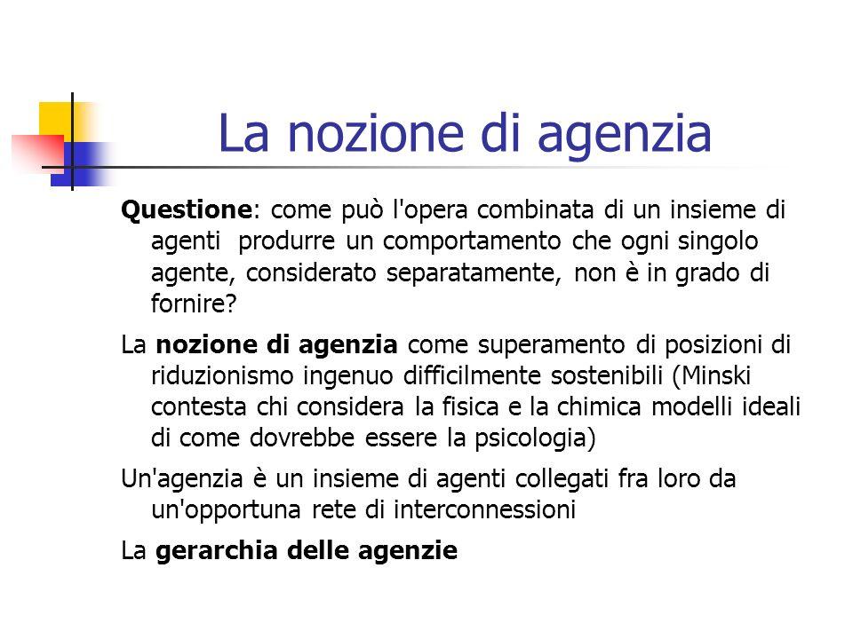 La nozione di agenzia Questione: come può l'opera combinata di un insieme di agenti produrre un comportamento che ogni singolo agente, considerato sep