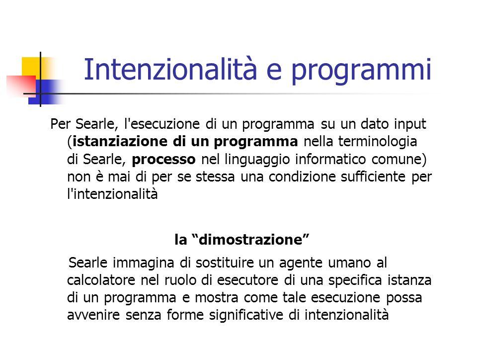 Intenzionalità e programmi Per Searle, l'esecuzione di un programma su un dato input (istanziazione di un programma nella terminologia di Searle, proc