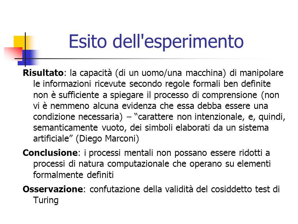 Esito dell'esperimento Risultato: la capacità (di un uomo/una macchina) di manipolare le informazioni ricevute secondo regole formali ben definite non