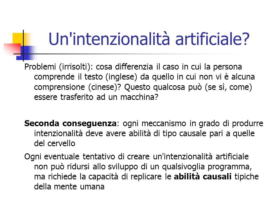 Un'intenzionalità artificiale? Problemi (irrisolti): cosa differenzia il caso in cui la persona comprende il testo (inglese) da quello in cui non vi è