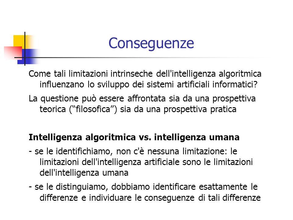 Conseguenze Come tali limitazioni intrinseche dell intelligenza algoritmica influenzano lo sviluppo dei sistemi artificiali informatici.