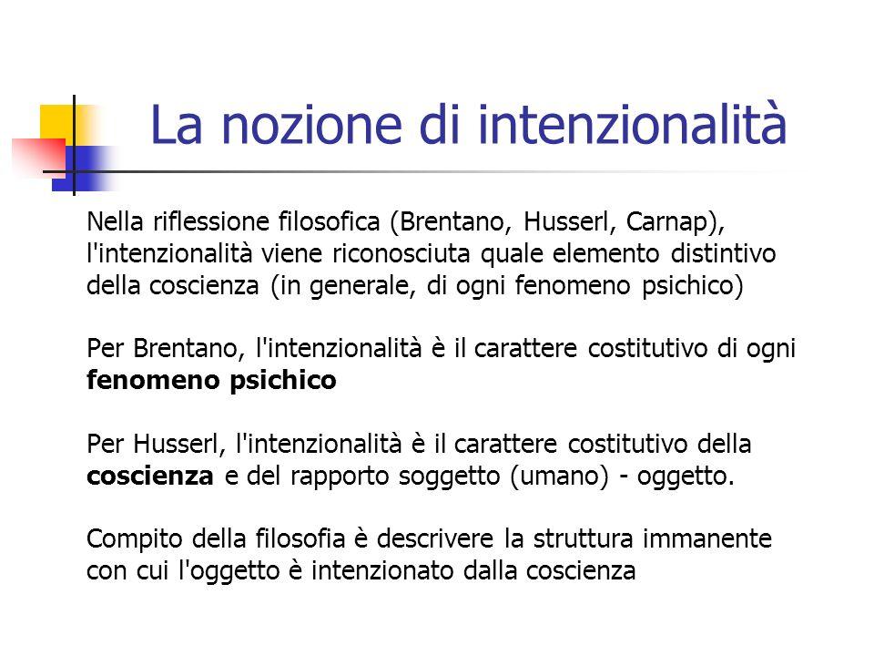 La nozione di intenzionalità Nella riflessione filosofica (Brentano, Husserl, Carnap), l'intenzionalità viene riconosciuta quale elemento distintivo d