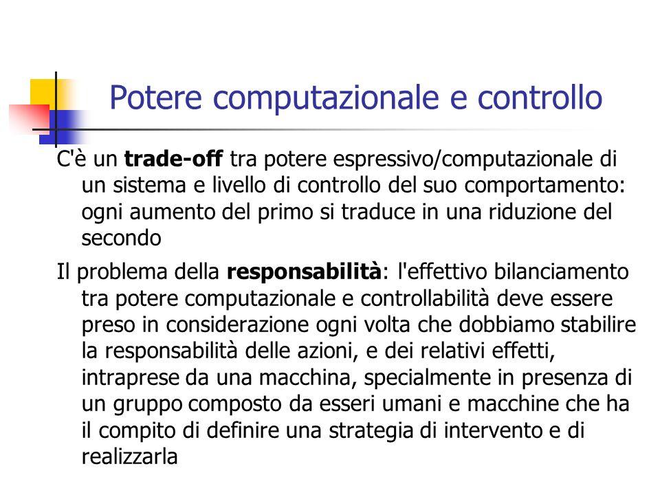 Potere computazionale e controllo C'è un trade-off tra potere espressivo/computazionale di un sistema e livello di controllo del suo comportamento: og