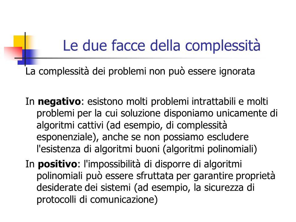 Le due facce della complessità La complessità dei problemi non può essere ignorata In negativo: esistono molti problemi intrattabili e molti problemi per la cui soluzione disponiamo unicamente di algoritmi cattivi (ad esempio, di complessità esponenziale), anche se non possiamo escludere l esistenza di algoritmi buoni (algoritmi polinomiali) In positivo: l impossibilità di disporre di algoritmi polinomiali può essere sfruttata per garantire proprietà desiderate dei sistemi (ad esempio, la sicurezza di protocolli di comunicazione)