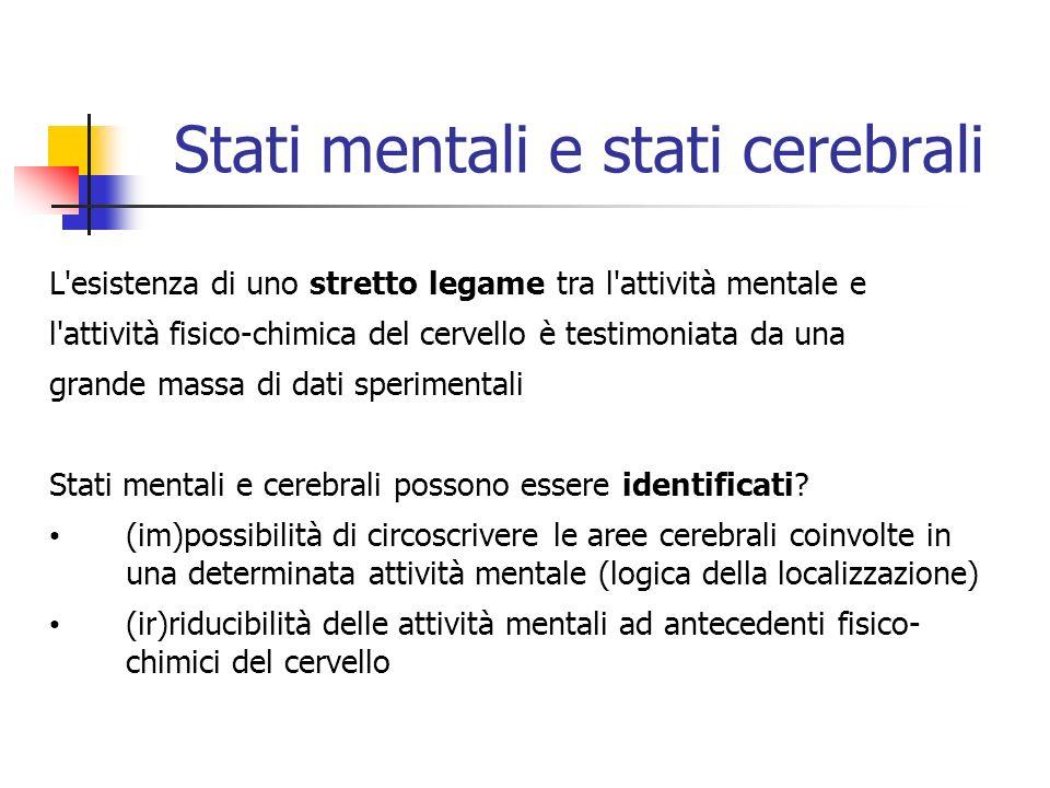 Stati mentali e stati cerebrali L'esistenza di uno stretto legame tra l'attività mentale e l'attività fisico-chimica del cervello è testimoniata da un