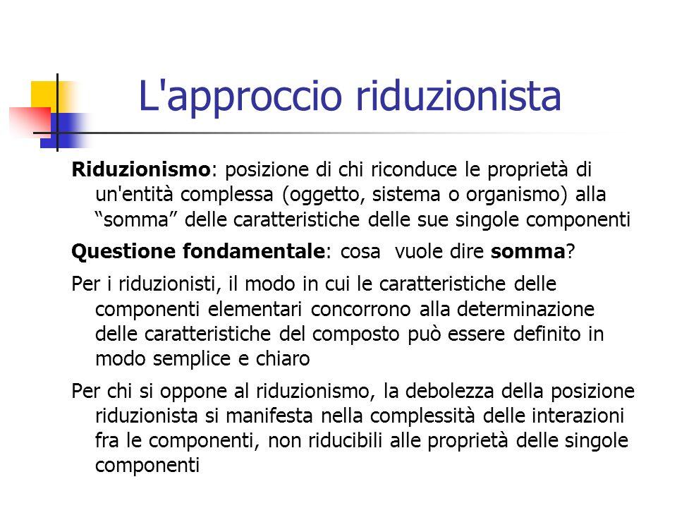 L'approccio riduzionista Riduzionismo: posizione di chi riconduce le proprietà di un'entità complessa (oggetto, sistema o organismo) alla somma delle