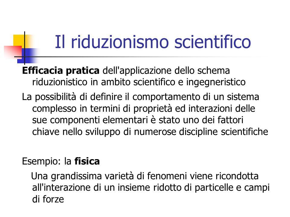 Il riduzionismo scientifico Efficacia pratica dell'applicazione dello schema riduzionistico in ambito scientifico e ingegneristico La possibilità di d