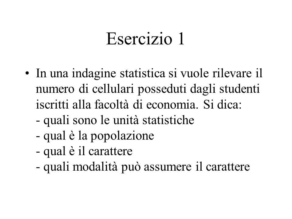 Esercizio 1 In una indagine statistica si vuole rilevare il numero di cellulari posseduti dagli studenti iscritti alla facoltà di economia.