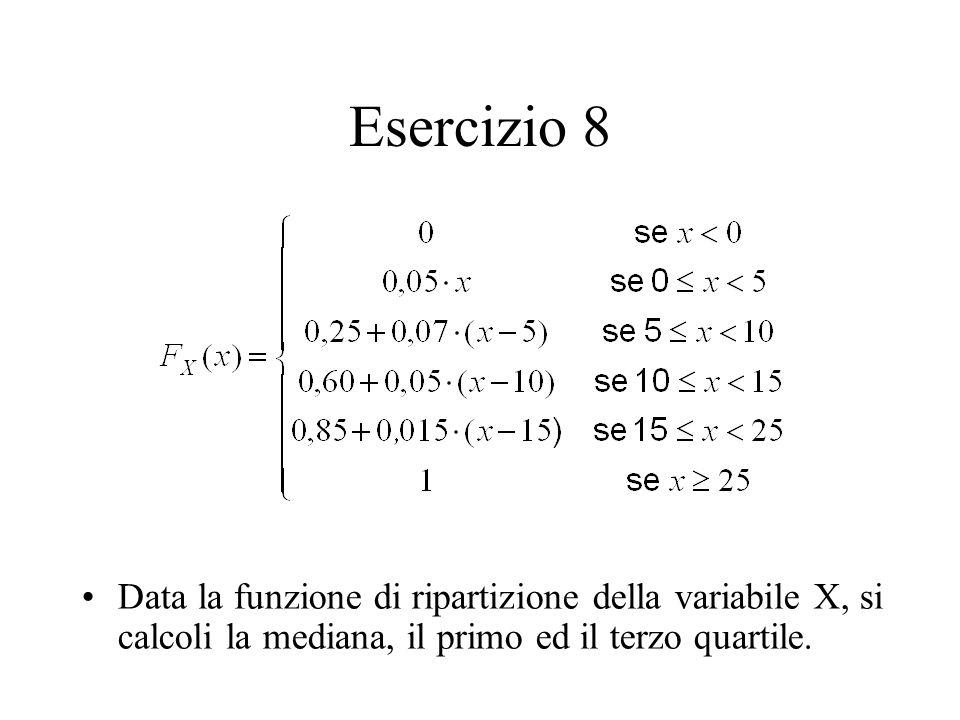 Esercizio 8 Data la funzione di ripartizione della variabile X, si calcoli la mediana, il primo ed il terzo quartile.