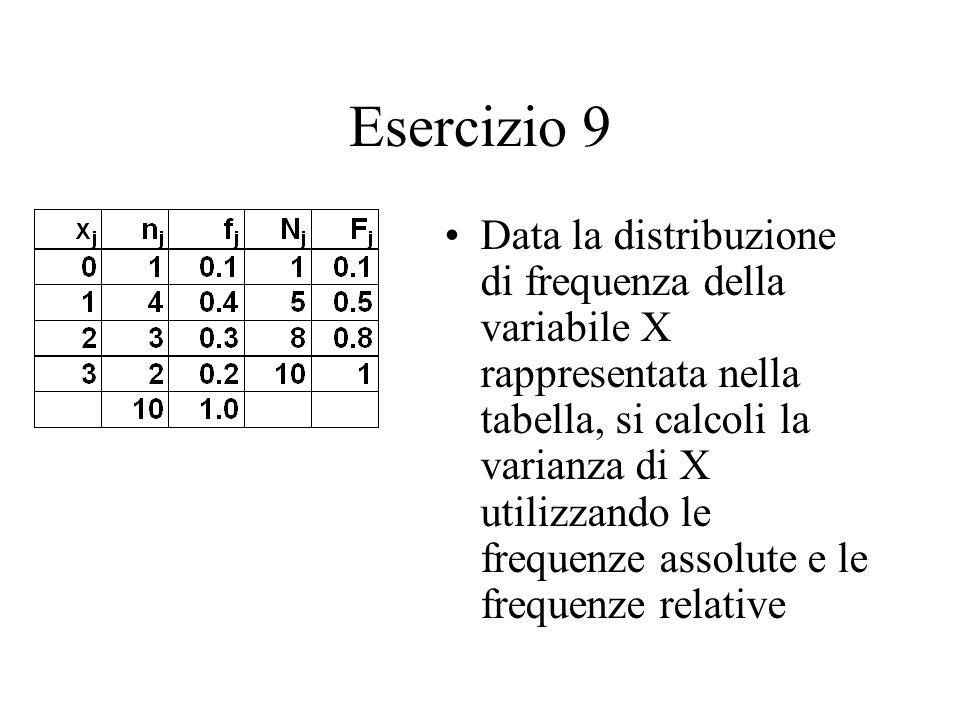 Esercizio 9 Data la distribuzione di frequenza della variabile X rappresentata nella tabella, si calcoli la varianza di X utilizzando le frequenze assolute e le frequenze relative