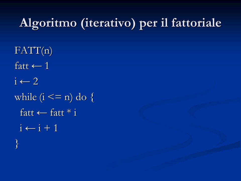 Algoritmo (iterativo) per il fattoriale FATT(n) FATT(n) fatt 1 i 2 while (i <= n) do { fatt fatt * i fatt fatt * i i i + 1 i i + 1}