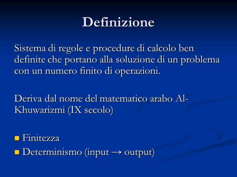 Definizione Sistema di regole e procedure di calcolo ben definite che portano alla soluzione di un problema con un numero finito di operazioni. Deriva