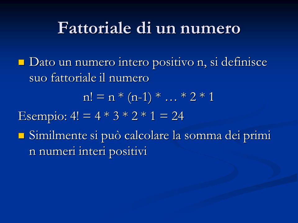 Fattoriale di un numero Dato un numero intero positivo n, si definisce suo fattoriale il numero Dato un numero intero positivo n, si definisce suo fat