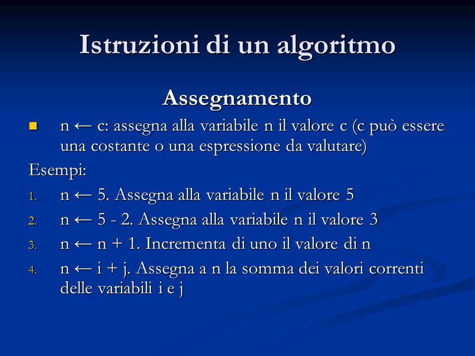 Istruzioni di un algoritmo Assegnamento n c: assegna alla variabile n il valore c (c può essere una costante o una espressione da valutare) n c: asseg
