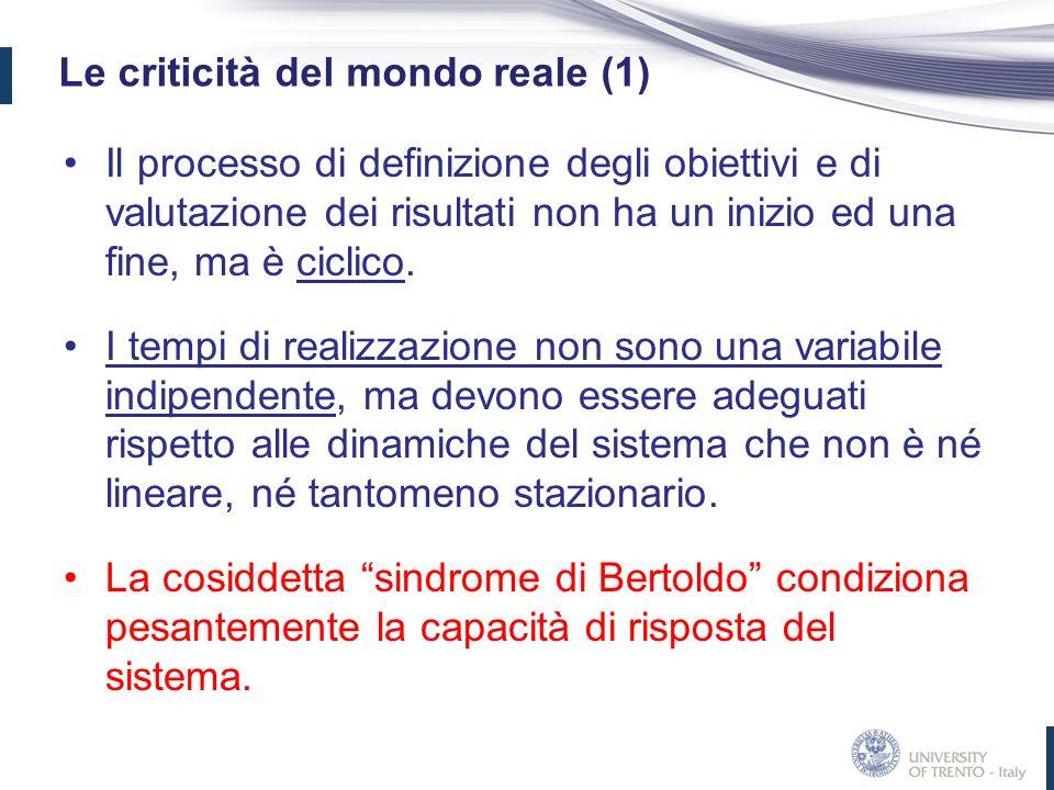 Le criticità del mondo reale (1) Il processo di definizione degli obiettivi e di valutazione dei risultati non ha un inizio ed una fine, ma è ciclico.