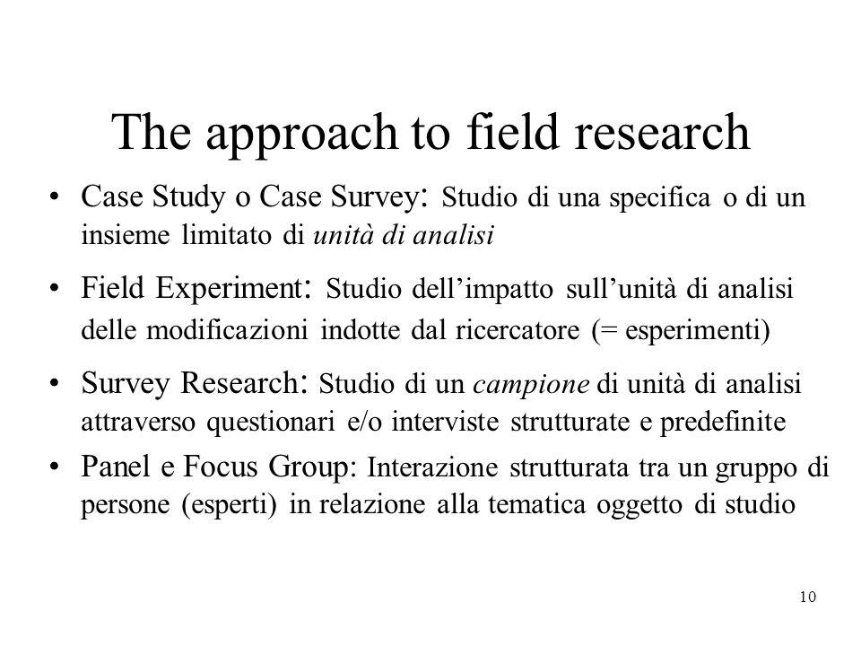 10 The approach to field research Case Study o Case Survey : Studio di una specifica o di un insieme limitato di unità di analisi Field Experiment : S