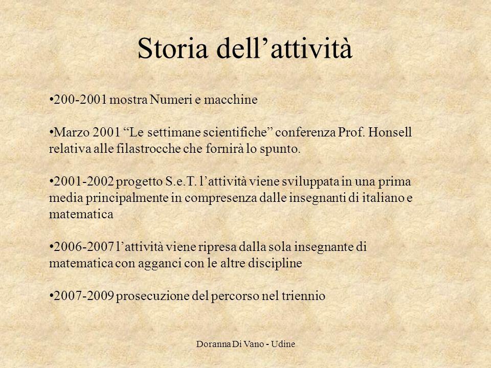 Storia dellattività 200-2001 mostra Numeri e macchine Marzo 2001 Le settimane scientifiche conferenza Prof. Honsell relativa alle filastrocche che for