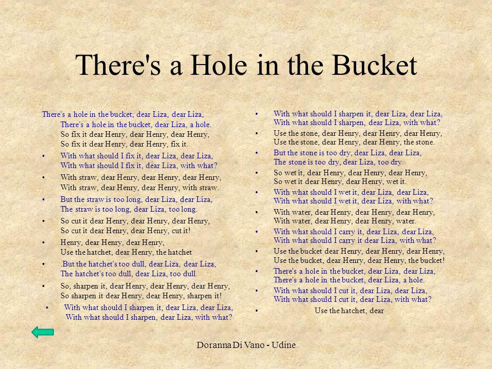 There's a Hole in the Bucket There's a hole in the bucket, dear Liza, dear Liza, There's a hole in the bucket, dear Liza, a hole. So fix it dear Henry
