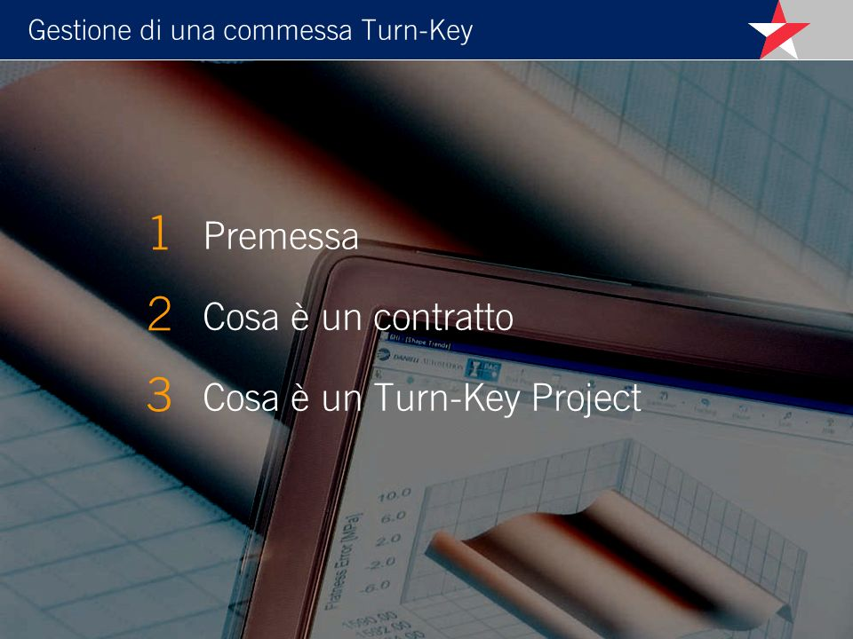 Gestione di una commessa Turn-Key 4.1 Basic Design 4.2 Detail Engineering 4.3 Procurement 4.4 Manufacturing 4.5 Workshop testing e Pre-shipment inspections 4.6 Shipment, Custom clearance and site forwarding 4.7 Construction and erection 4.8 Commissioning, Performance demonstration e Provisional Acceptance 4.9 Guarantee period e Final acceptance Fasi principali di un Turn-Key Project 4