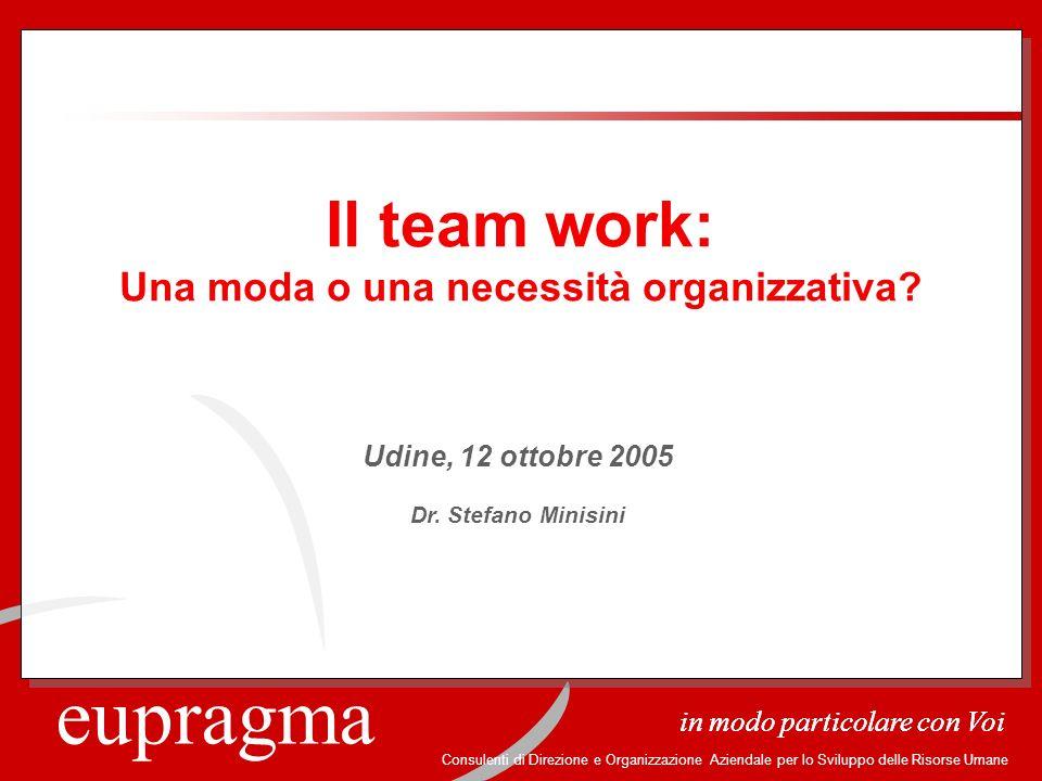 eupragma in modo particolare con Voi Consulenti di Direzione e Organizzazione Aziendale per lo Sviluppo delle Risorse Umane Il team work: Una moda o u