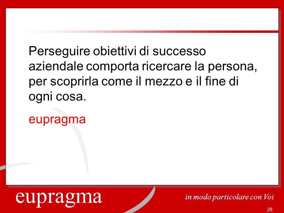 eupragma in modo particolare con Voi 28 Perseguire obiettivi di successo aziendale comporta ricercare la persona, per scoprirla come il mezzo e il fin