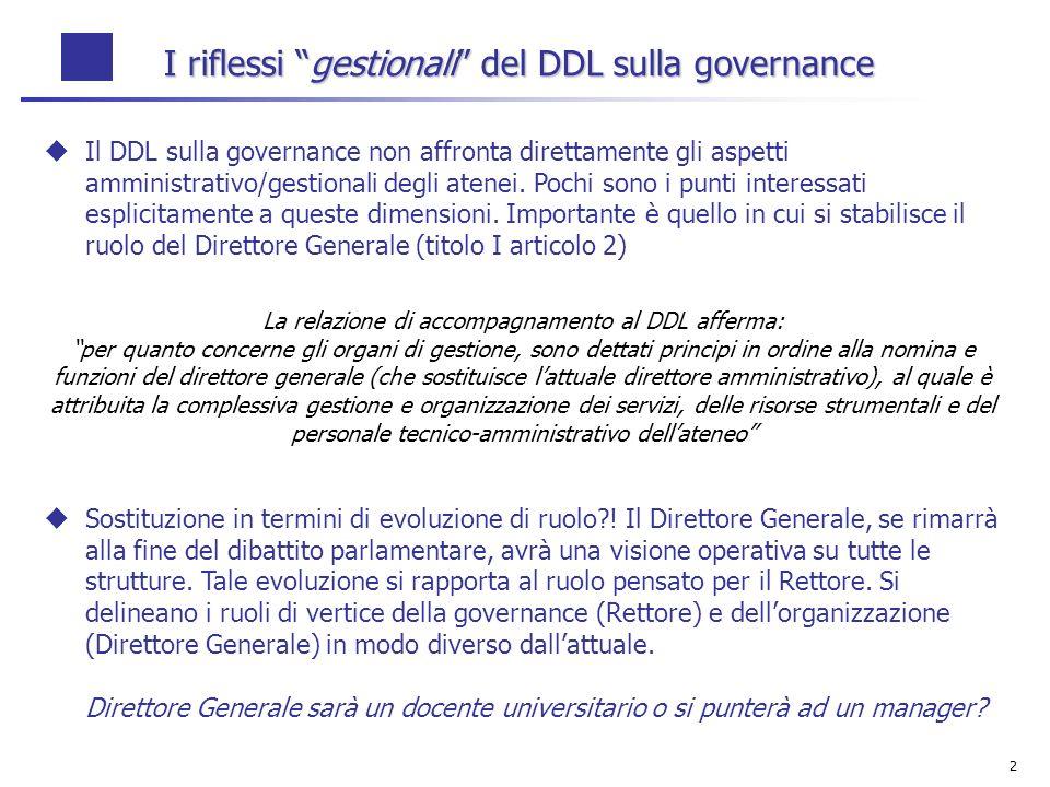 2 I riflessi gestionali del DDL sulla governance Il DDL sulla governance non affronta direttamente gli aspetti amministrativo/gestionali degli atenei.